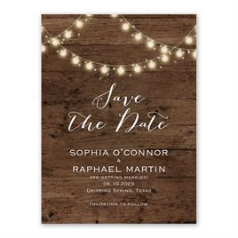 String of Lights Save the Date Card