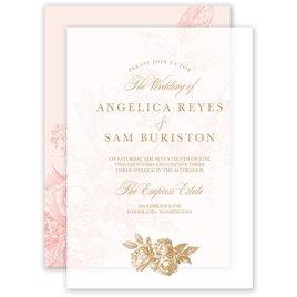 Vintage Rose - Pastel Coral - Layered Vellum Invitation