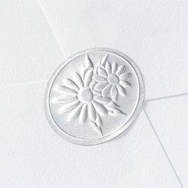 Wedding Envelope Seals: Blank Silver Embossed Daisies Seal