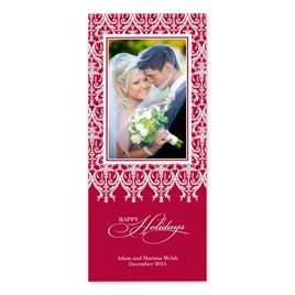 Merry Damask - Red Photo Holiday Card