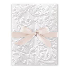 White Vintage with Ribbon -  Blush - Invitation