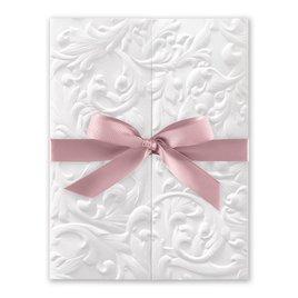 White Vintage with Ribbon -  Rose - Invitation