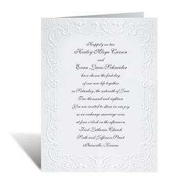 With a Flourish - White Invitation