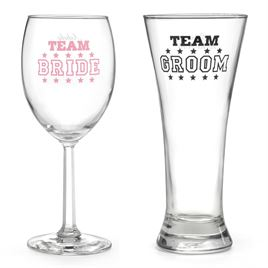 Team Bride and Team Groom Wedding Glasses