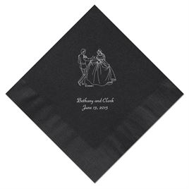 Cinderella - Black Beverage Napkins in Foil