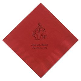 Cinderella - Red Dinner Napkins in Foil