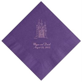 Cinderella - Purple Beverage Napkins in Foil