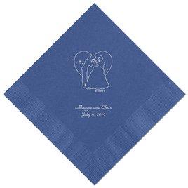 Cinderella - Royal Blue Beverage Napkins in Foil