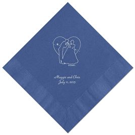 Cinderella - Royal Blue Dinner Napkins in Foil