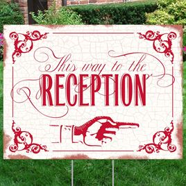 Red Reception Direction Yard Sign