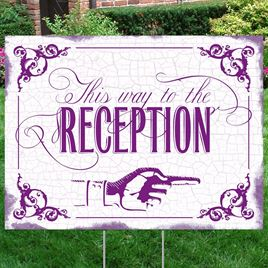 Purple Reception Direction Yard Sign