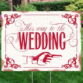 Red Wedding Direction Yard Sign