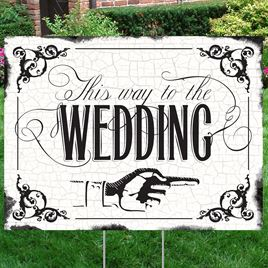 Black Wedding Direction Yard Sign