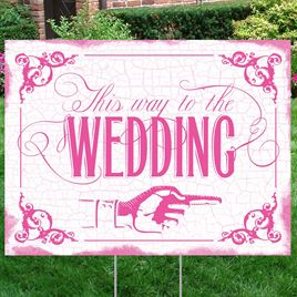 Fuchsia Wedding Direction Yard Sign