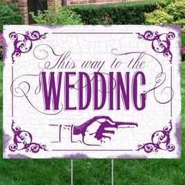 Purple Wedding Direction Yard Sign