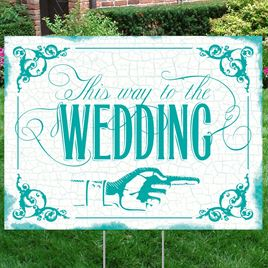 Peacock Wedding Direction Yard Sign