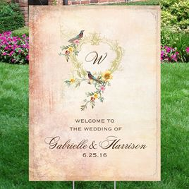 Vintage Birds Yard Sign