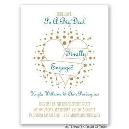 Heart and Stars - Petite Engagement Party Invitation