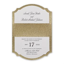 Sparkling Beauty - Gold - Real Glitter Invitation