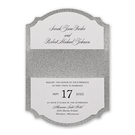 Sparkling Beauty - Silver - Real Glitter Invitation