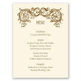 Fine Filigree Menu Card | Invitations by Dawn
