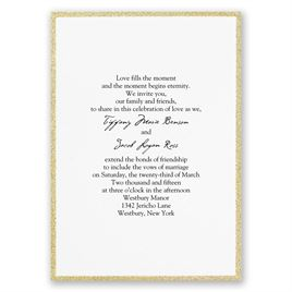 DWF13113 Framed in Glitter Gold Invitation - Traditional Wedding Invitation Size