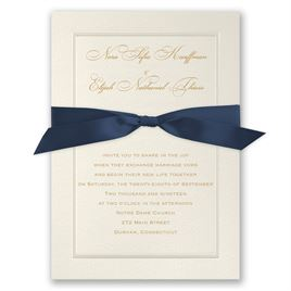 Wedding Invitations With Ribbon: Pearl Frame Invitation