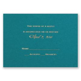 Teal - Foil Response Card and Envelope