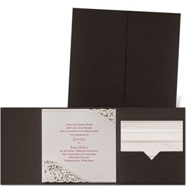 Pearls and Lace - Brown Shimmer Pocket - Laser Cut Invitation