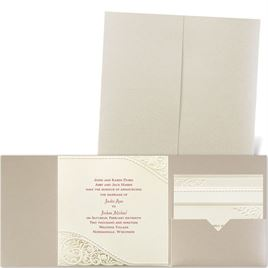 Pearls and Lace - Gold Shimmer Pocket - Laser Cut Invitation