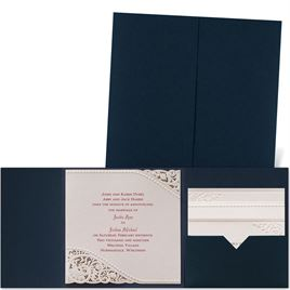 Pearls and Lace - Navy Pocket - Laser Cut Invitation