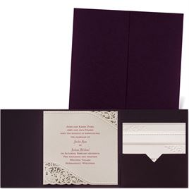 Pearls and Lace - Eggplant Pocket - Laser Cut Invitation