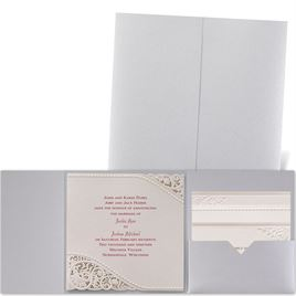 Pearls and Lace - Silver Shimmer Pocket - Laser Cut Invitation