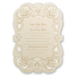 Vintage Wedding Invitations: Opulent Lace Laser Cut Invitation