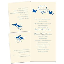 Pretty Birds - Ecru - 3 for 1 Invitation