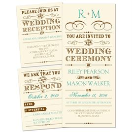 Vintage Type   3 For 1 Invitation