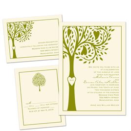 Tree of Love - Ecru - 3 for 1 Invitation