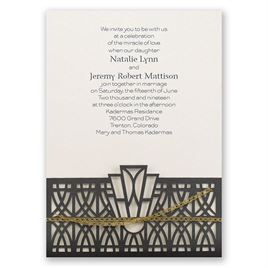 Art Deco Adoration - Ecru Shimmer - Laser Cut Invitation