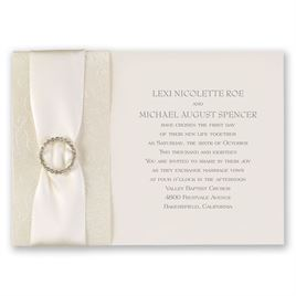 Metallic Wedding Invitations: Shimmering Sash Invitation