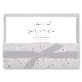 Metallic Wedding Invitations: Silver Pearls Invitation