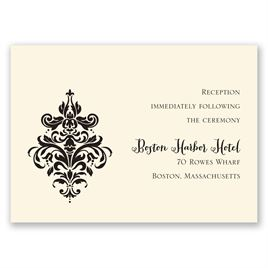 Dramatic Damask - Ecru - Reception Card