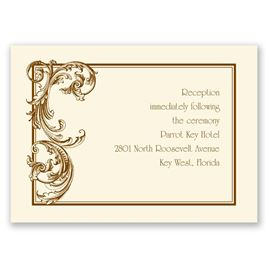 Fine Filigree - Ecru - Reception Card