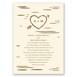 Birch Bark Heart - Ecru - Invitation
