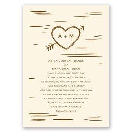 Birch Bark Heart   Invitation