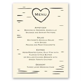Birch Bark Heart - Ecru - Menu Card