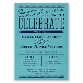 Big News - Aqua Shimmer - Foil Invitation
