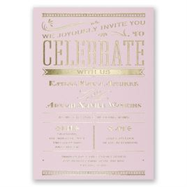 Big News - Pink - Foil Invitation