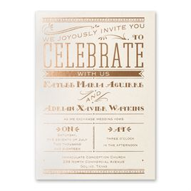 Big News - Ecru Shimmer - Foil Invitation