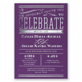 Big News - Purple Shimmer - Foil Invitation