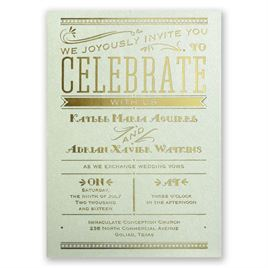 Big News - Pistachio Shimmer - Foil Invitation